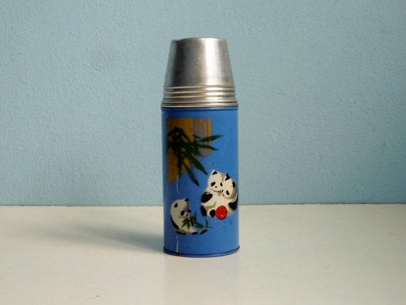 Vintage blue panda thermos vacuum flask