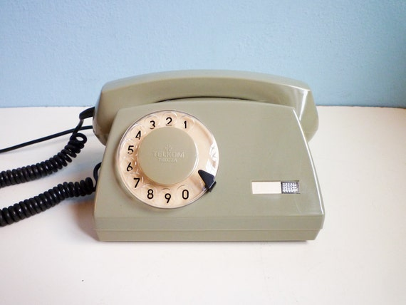 Vintage rotary telephone dial phone soft military green
