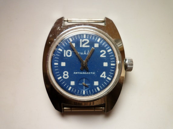 Vintage Blue White German Ruhla Wristwatch Antimagnetic 80s GDR