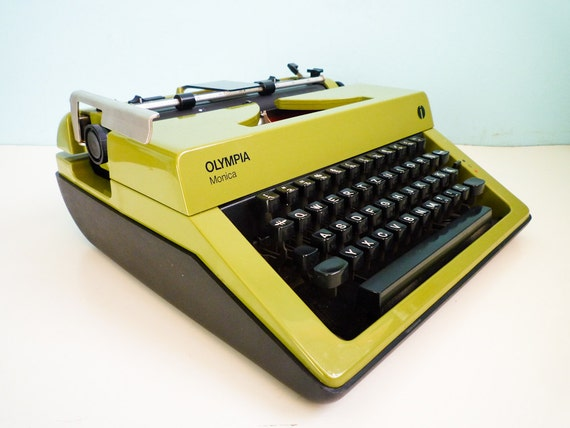 Temp Reserved for Susan - Vintage manual typewriter Olympia Monica Olive Green 70s