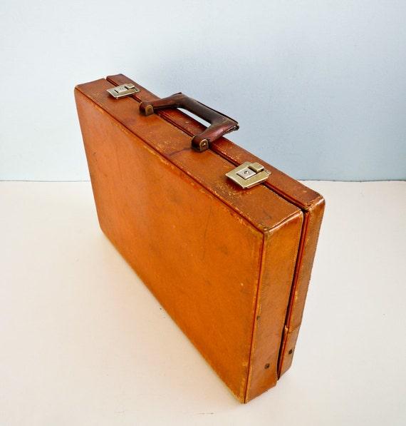 Vintage 70s leather briefcase document bag brown caramel
