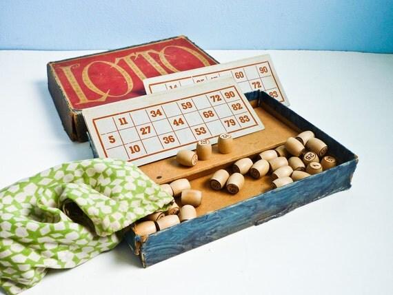 Vintage 50s Bingo Lotto Board Game Wooden Markers