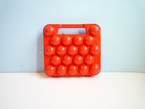Vintage egg basket box tin red plastic ooak 20 eggs