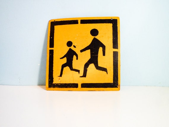 Vintage street sign plywood Solar Power yellow black school kids