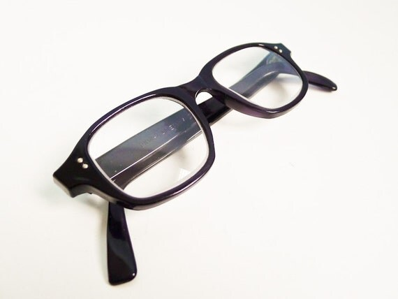 Vintage NOS 70s mens eye glasses unisex black deadstock