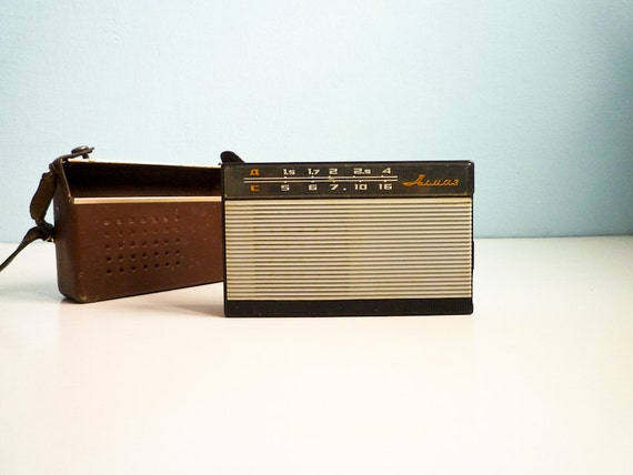 Vintage Portable Russian Radio from the 60s w Leather Case
