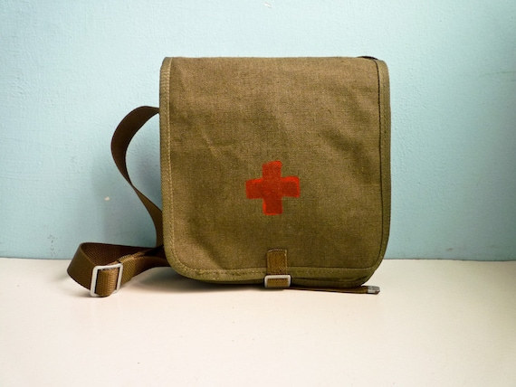 Vintage Red Cross Medic Military Bag Messenger Green Canvas Leather Army