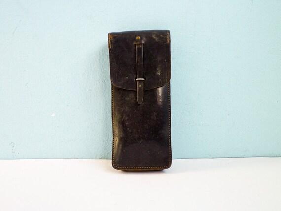 Reserved for Ken - Vintage Belt Bag Military Leather Army Black