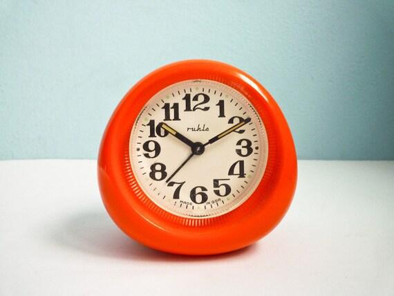 Vintage 70s Orange Alarm Clock Mechanical Wind Up Retro