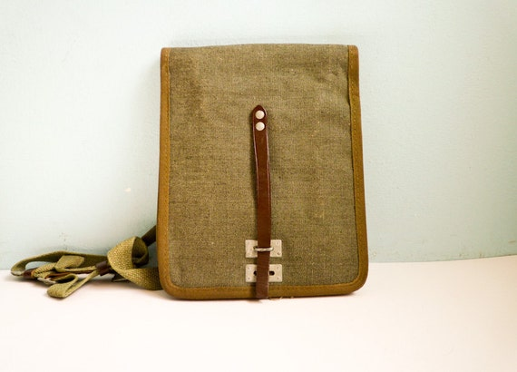 Vintage military messenger bag green canvas deadstock