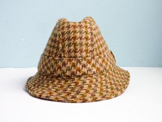 Vintage Wool Tweed Houndstooth Hat England Britain