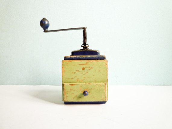 Vintage wooden coffee mill grinder green and blue
