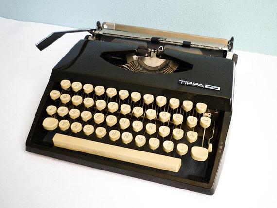 TEMP RESERVED - Vintage Portable Typewriter Triumph Adler Tippa S Manual Black Cream