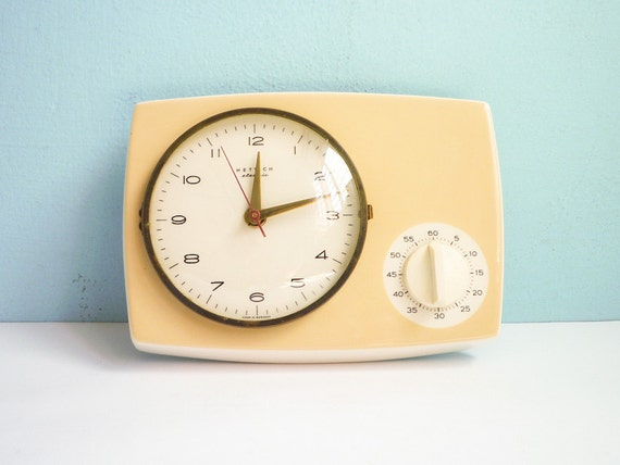 Vintage Kitchen Wall Clock with timer porcelain ceramic 50s 60s