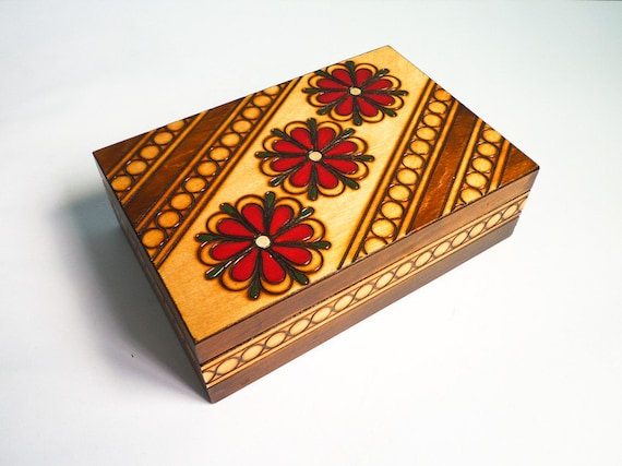 Vintage Wooden Jewelry Box Hand Engraved Red Flowers