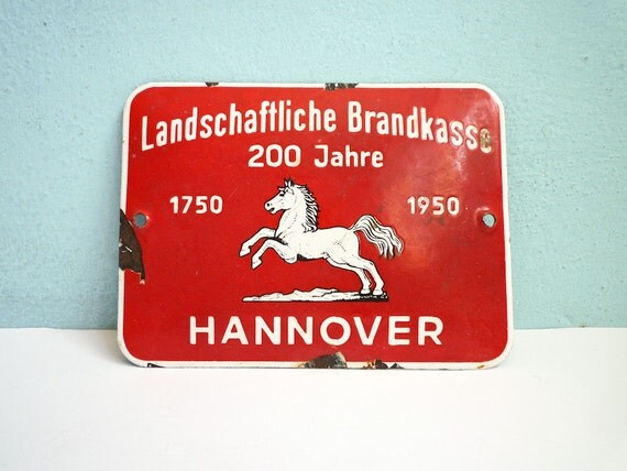 Vintage 1950 Metal Sign Red Horse Enamel Germany Red