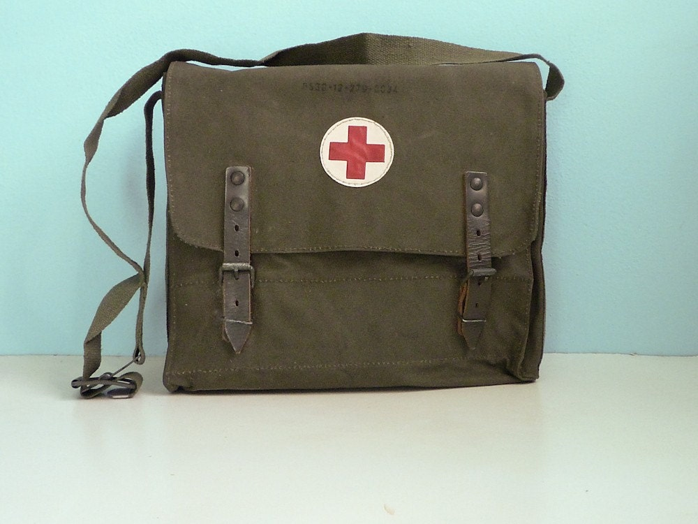 Vintage Military Medical Bag Red Cross First Aid