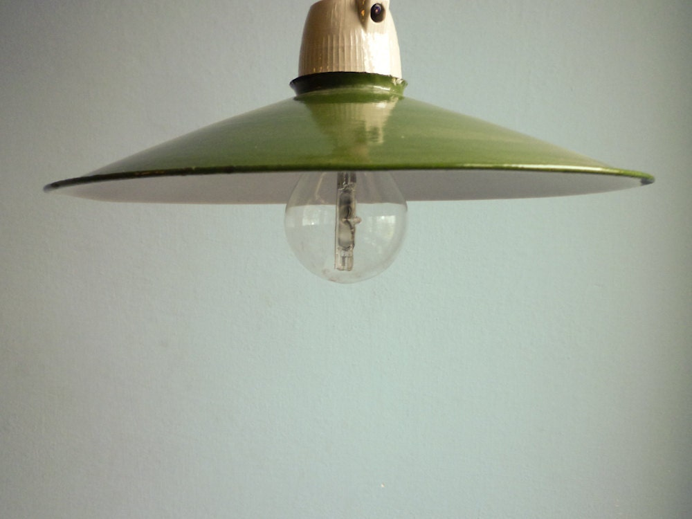 Green Enamel Industrial Light Shade Lamp Loft Barn Light