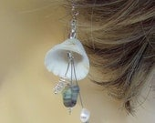 Cockle shells, fresh water pearls, silver wire, Holiday Memories Earrings