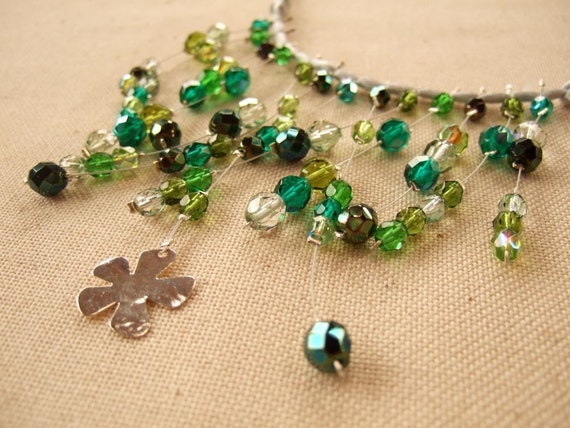 Shades of green glass beads and silver satin cord collar Necklace
