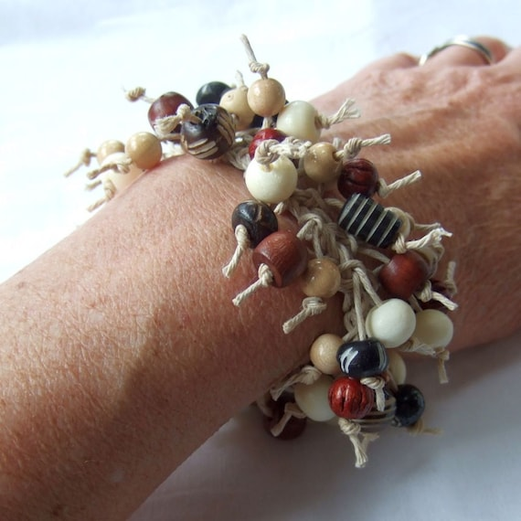 Beaded Hemp Bracelet, Wood Bone, Crochet Knotted Twine, Brown Black Gray Natural