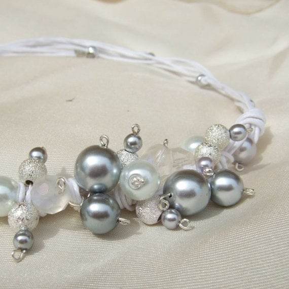 Silver, white, and crystal glass beads, white cotton cord, Necklace for weddings