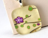 Glass Tile Pendant - Plum Blossom