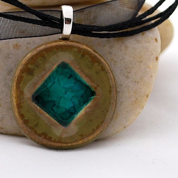 Ceramic Pendant with Recycled Glass - Square Circle Necklace in Fossil