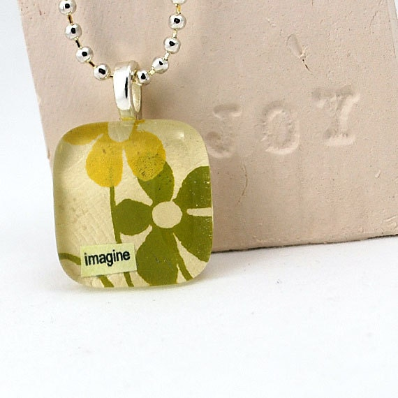 Eco Friendly Glass Tile Pendant - Autumn Meadow Imagine Necklace - sale