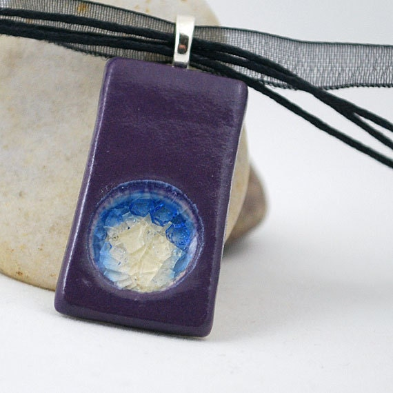 Ceramic Pendant with Recycled Glass - Rectangle Circle Necklace in Celestial Plum - FREE SHIPPING