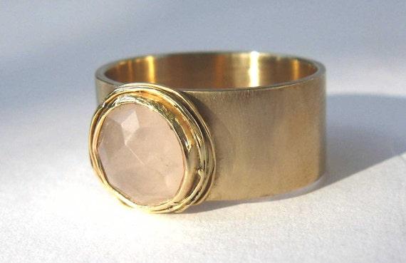14k Gold Ring with Rose Quartz Stone