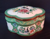 Canton Chinese Enamel on Copper Trinket Box Rare Shape and Condition