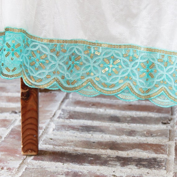 SALE -- Teal and gold sequin trimmed slip -- only 1 available
