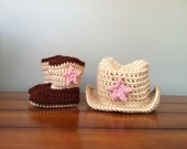 Crochet Cowboy or Cowgirl Hat and Boot Set Photography Prop