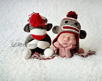 Sock Monkey Hat with Pom Pom, Earflaps, and Braids (You Choose Size)