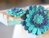 Teal Hand Felted Brooch Set