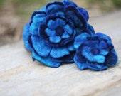 Set of Blue Hand Felted Flower Pins