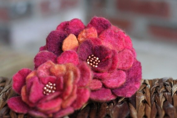 Hand Felted Brooch Set - Pinks & Brown