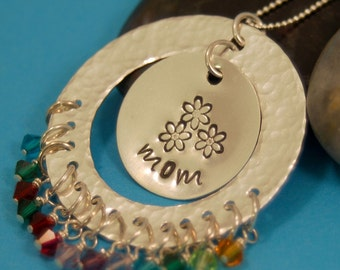 Personalized Mothers Pendant - Large Family - Sterling Silver with Birthstones - Handmade
