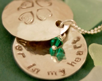 Personalized Memory Locket - Sterling Silver with Birthstones - Hand Stamped