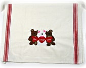 Embroidered kitchen towel, teddy bears with hearts