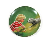 Collectible plate, boy and dog