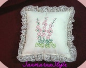 Accent pillow, hand embroidered
