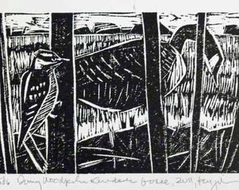 Downy Woodpecker and  Canada Goose Linocut