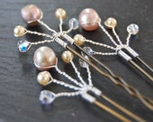 Bridal Hair Pins, Swarovski Pearl, Crystal Spray, Wedding, Hair Accessory, Fashion