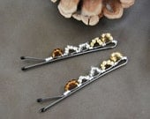 Autumn Gold Bobby Pins, Seed Beads, Wire Wrapped, Hair Accessory, Fashion, LoveandCherish