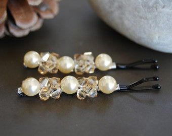Bridal Bobby Pins, Luxurious Swarovski Pearls, Crystals, Wedding Hair Accessory, Fashion, LoveandCherish