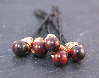 Jasper Bobby Pins, Wire Wrapped, Hair Accessory, Fashion, LoveandCherish