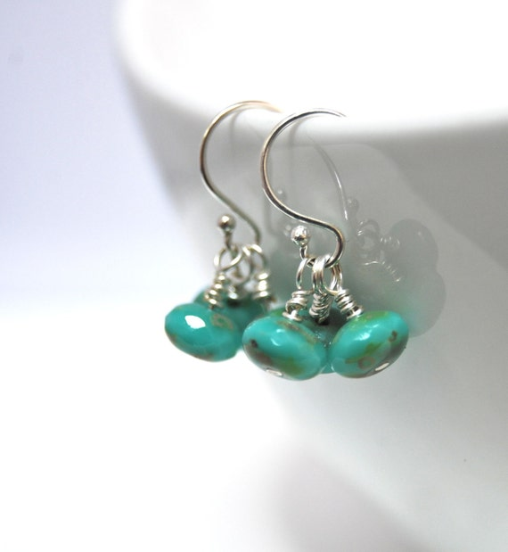 Custom order for Candee Earrings Turquoise Delight Czech Glass  Sterling Silver Wire Wrapped LoveandCherish