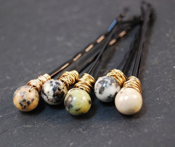 Bobby Pins, Lemon Turquoise Beads, Wire Wrapped, Hair Accessory, Hair Pin, Fashion